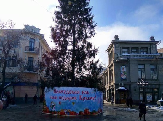 РФ подарила крымчанам елку: Веток нет, но вы держитесь!